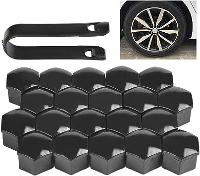 20 Set Auto Radschrauben Kappen Abdeckungen Radmuttern Schwarz 17mm für VW