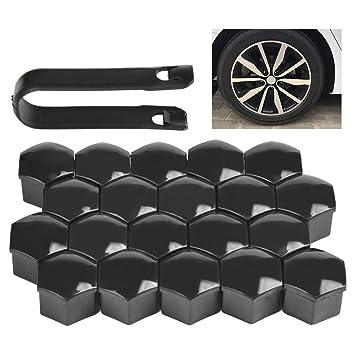 QLOUNI 20pcs Tapas de Tornillos y Tuercas para Neumáticos y Llantas de 17mm para la Mayoría de Coches con Herramienta de Removedor: Amazon.es: Coche y moto