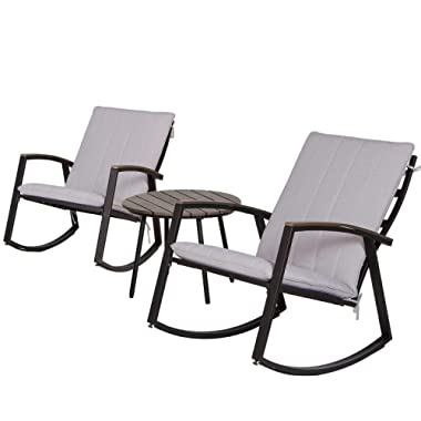 LCH Outdoor 3-Piece Rocking Chair Bistro Sets Patio Furniture Metal Black Frame with Grey Cushion Conversation Sets -Two Chairs with Round Wood-Grain Color Table for Porch, Garden, Backyard or Pool