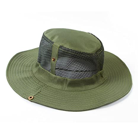 Men/'s Cotton Mesh Sun Hat Wide Brim Fisherman Cap Outdoor Sunscreen