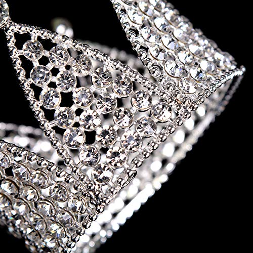 Mini Crown Cake Topper Decoration- Silver Decorations with Rhinestones and Pearls Vintage Style Royal Centerpiece for Birthdays, Quinceaneras, Weddings,Bridal/Baby Showers, -