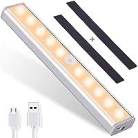 OUSFOT Luz Armario con Sensor de Movimiento Luz Sensor para Armario USB Recargable LED Armario con 2 Tiras Magnéticas…