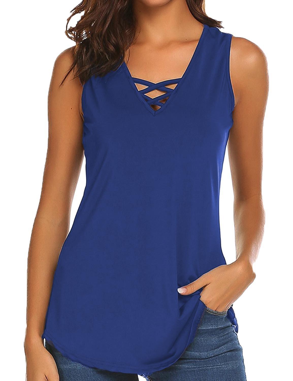 Sechico Women's Criss Cross Casual Cami Shirt Sleeveless Tank Top Basic Lace up Blouse(Navy Blue M)