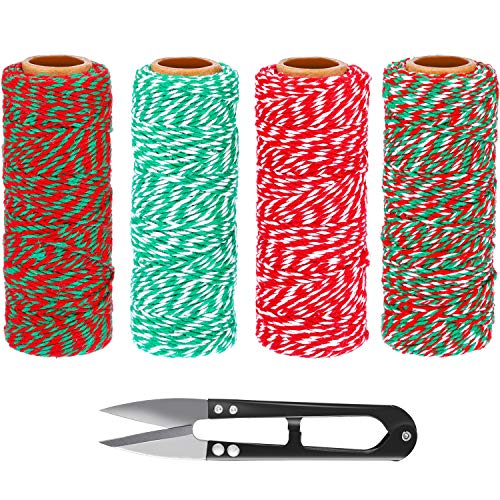 TecUnite 4 Rolls Christmas Baker Twine Gift Wrapping Cotton String Twine Cord with Mini Sewing Scissors for Arts Crafts DIY, 656 Feet Totally, Assorted Colors