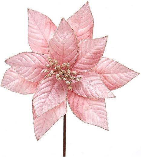 Pink METALLIC POINSETTIA Flower Bunch Christmas Festive Rose