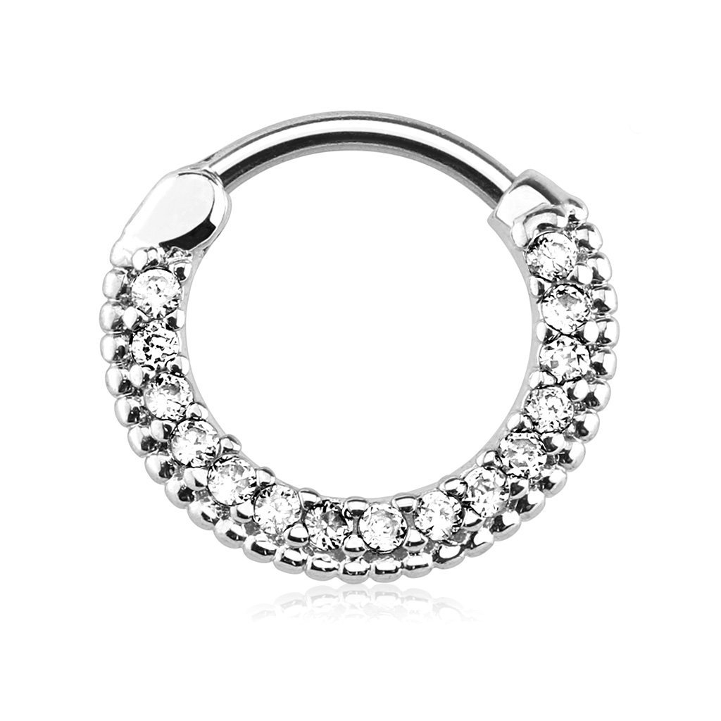 Forbidden Body Jewelry 16g 10mm Rounded Top Pave Clear CZ Clicker Hoop for Septum & Cartilage Piercings by Forbidden Body Jewelry