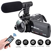Video Camera Camcorder 3.0 Inch IPS Touch screen FHD 1080P Vlogging Camera with Flash, 24MP Digital Camcorder with External Microphone Speaker Wifi 16X Digital Zoom Camera