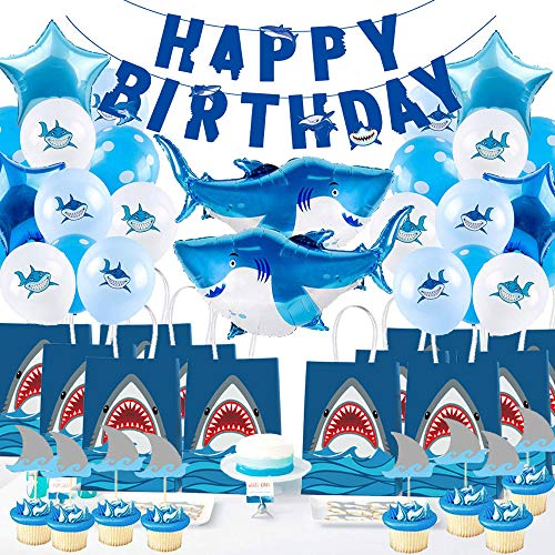 Happy Birthday Paty (Holy Party Shark Birthday Party Supplies Set 52PCS - Pool Party Decorations Shark Birthday Paty Decorations for)