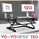 Yo-Yo Desk® 120 (BLACK) - Best Selling Height-Adjustable Standing Desk [120cm Wide]. Superior sit-stand solution suitable for all workstations and standing desk workplaces.