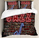 Funy Decor Music Bedding Set, Image of Alluring Neon All Jazz Sign with Saxophone Instrument on Brick Wall Print, 4 Piece Duvet Cover Set Bedspread for Childrens/Kids/Teens/Adults, Red Blue Twin Size