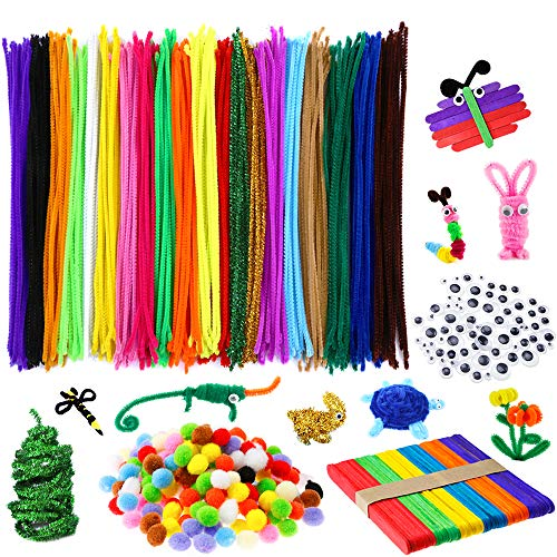 Caydo 910 Pieces Pipe Cleaners Set, Including 360 Pcs 20 Colors Chenille Stems with Smooth Processing at Both Ends, 300 Pieces 4 Size Wiggle Googly Eyes, 200 Pieces Pom Poms and 50 Pieces Craft Sticks