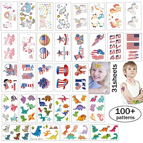 Kids Tattoos Body Art Decal Stickers Party Temporary Tattoos for Family Body Art Decorations Decals Papers Flag Unicorn Dinosaur Mixed Tattoo Supplies 31 Sheets 100+ Patterns from Ceresa Inc