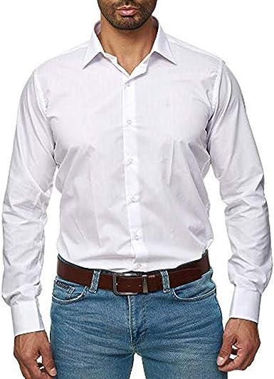 Camisa de manga larga con botones para hombre, de popelina ...