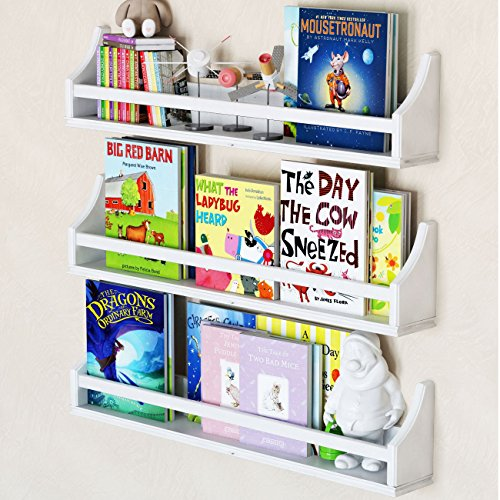 Set of 3 Stylish Baby Nursery Room Wall Shelf Sturdy Birch Wood (Long (30'), white)
