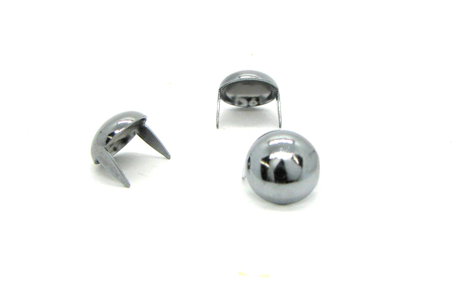 Chrome Dome Studs - Size 13 - Brass Base Metal Studs - Ideally Used for Denim and Leather Work - Classic Two-Prong Studs - Pack of 25 StudsAndSpikes