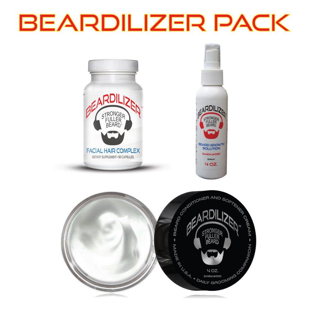 Beardilizer ® Value Pack: Dietary Supplement 90 Caps + Beard Growth Spray 4 Oz + Beard Growth Conditioner And Softener Cream 4 oz