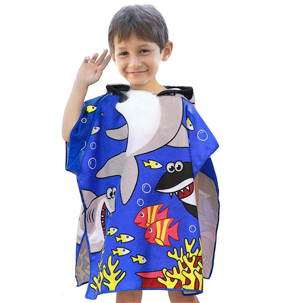 Bambino in Microfibra Bagno con Asciugamano con Cappuccio Cartone Animato Accappatoio Asciugamano ad Asciugatura Rapida Blu Marino VSTON Asciugamano Poncho da Bambino per Spiaggia
