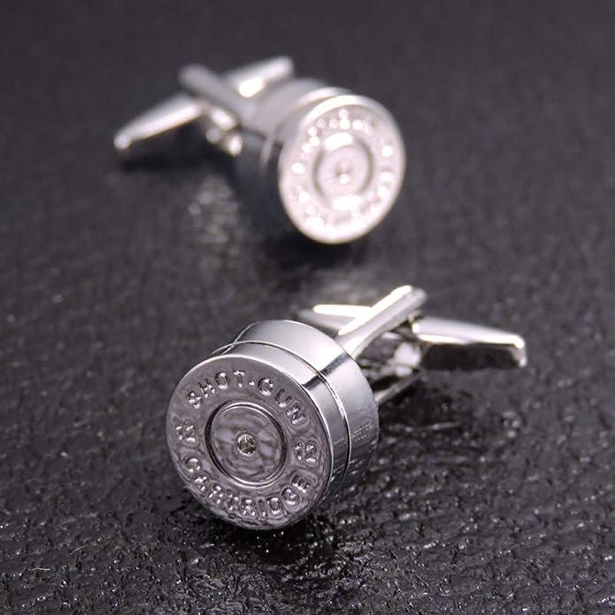 QFERW Gemelos Novedad Bullet Gemelos Plata Color Bullet Design Gemelos Hombre Boda Novio Camisa Puños Gemelos, Astilla: Amazon.es: Joyería
