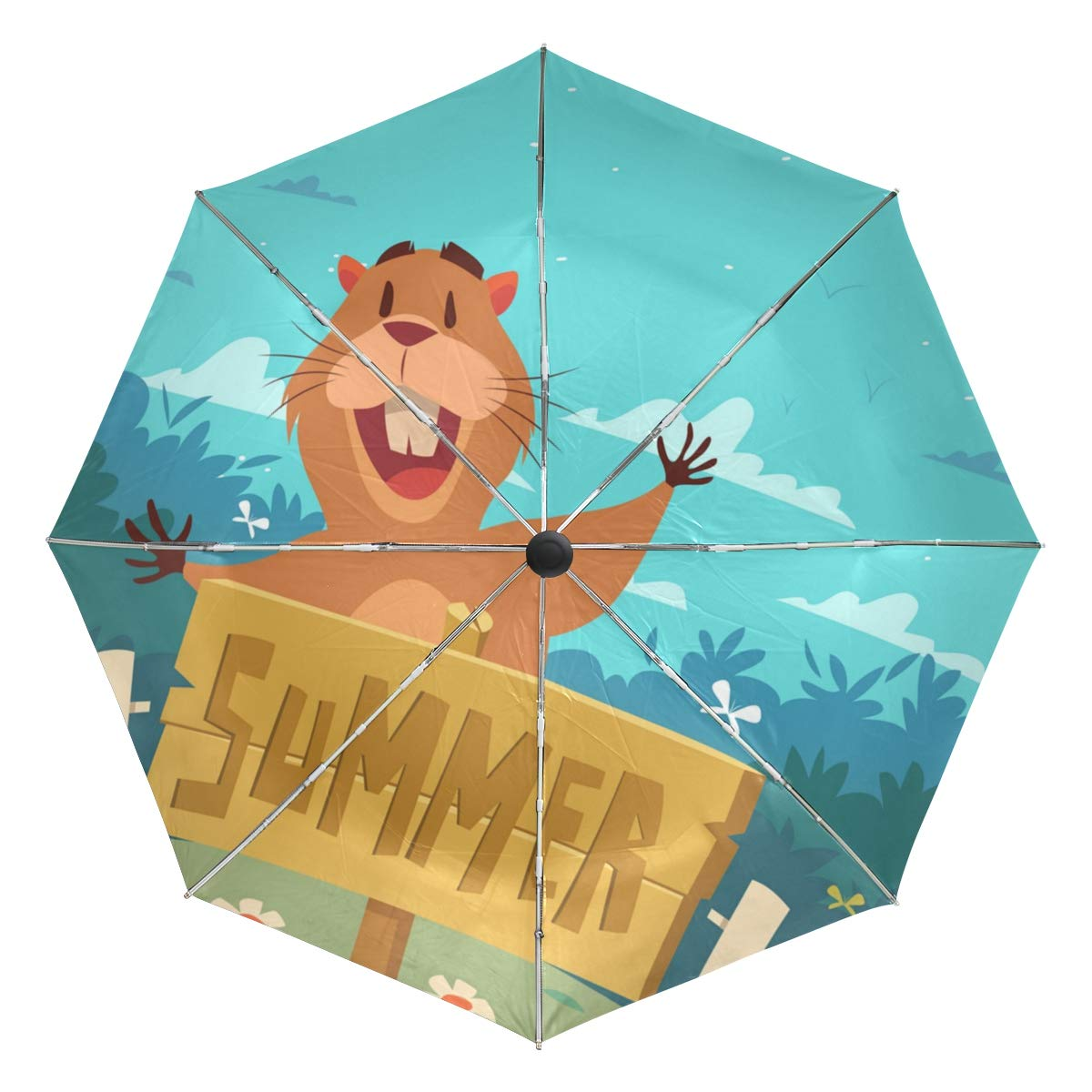 ANINILY Gopher With Summer Sign Folding Umbrella Windproof, Black Glue Anti UV Coating, Compact Travel Umbrella for women men, Auto Open Close