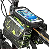 BOBILIFE Bike Front Frame Storage Bag, Universal Top Tube Bicycle Handlebar Twin Bag with Cell Phone Holder for Any Phones Like iPhone, Galaxy, Huawei (Green)