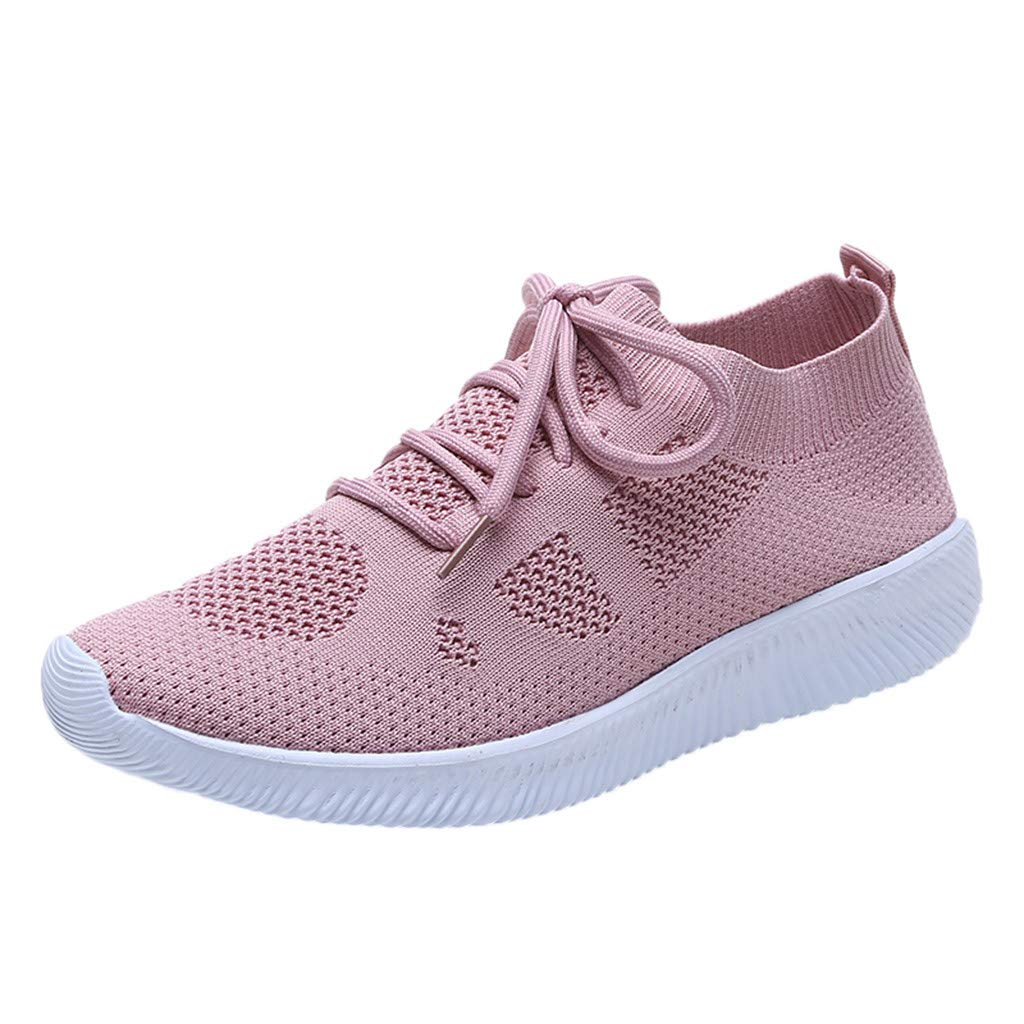 Huaze Summer Womens Sneakers Lightweight Casual Walking Breathable Mesh Running Shoes Large Size Sneakers US:5-9 (Pink, 8)