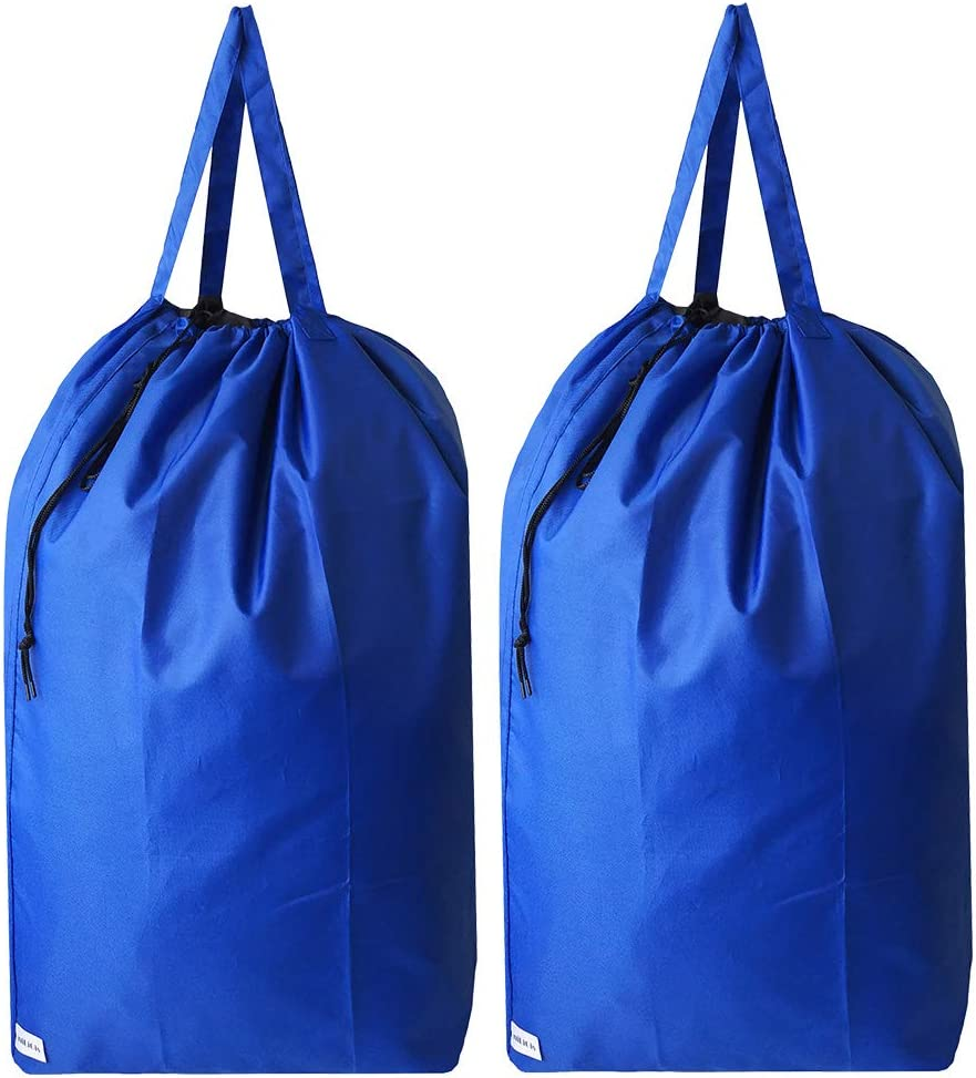 UniLiGis Tear Proof Nylon Laundry Bag with Handles,Hamper Liner with Drawstring Closure for Travel,Dirty Clothes Bag Fit Most Laundry Hamper and Sorter,27.5x34.5 inches,RoyalBlue 2 Pack