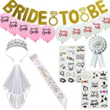 MAYMII 8pcs Bachelorette Party Bride To Be Kit - Bridal Shower Supplies - Sash For Bride, Rhinestone Tiara Crown , Gold Banner, Veil , Balloon , Badge , Bride Tribe Flash Tattoos
