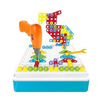 48051669561ae YAKOK 191Pcs 3D Pegboard Jouet Mosaique Enfant Loisir Creatif Perceuse  Visseuse Enfant Vis Jouet pour Enfants