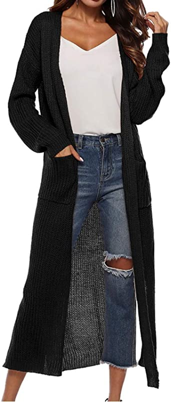 Ladies Womens Long Sleeve Cable Knit Pockets Button Full Length Maxi Cardigan