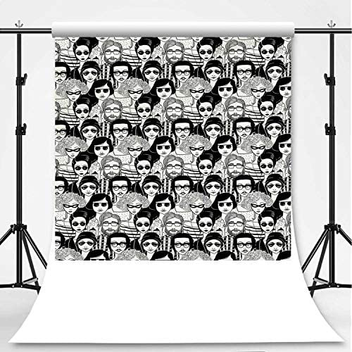 8x12 FT Doodle Vinyl Photography Background Backdrops,Crowded Street Sunglasses on Everybody Aviators Urban Life Modern Artwork Print Background for Selfie Birthday Party Pictures Photo Booth Shoot