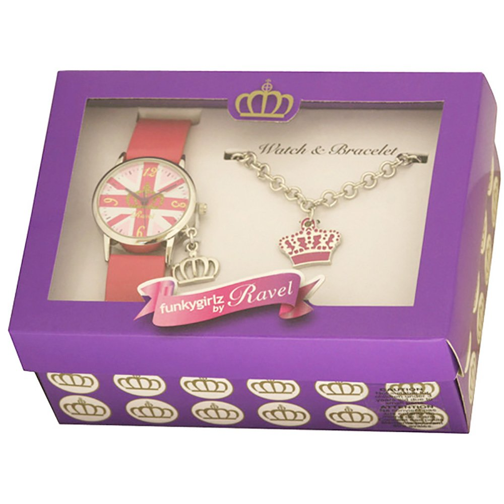 Amazon.com: Ravel Girlz Watch and Jewellery girls Gift set Union Jack and Crown R3303: Watches