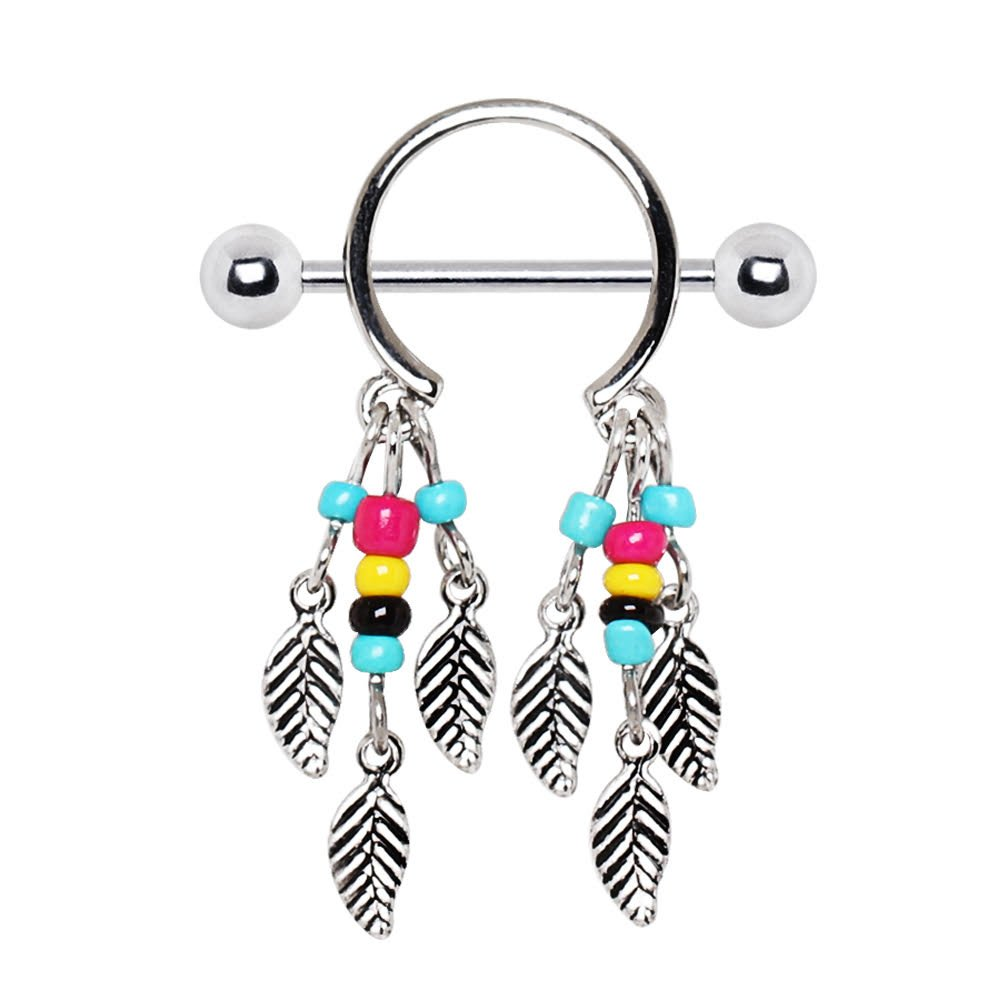 316L Surgical Steel Multi-Colored Beads Feather Dangle WildKlass Nipple Shield