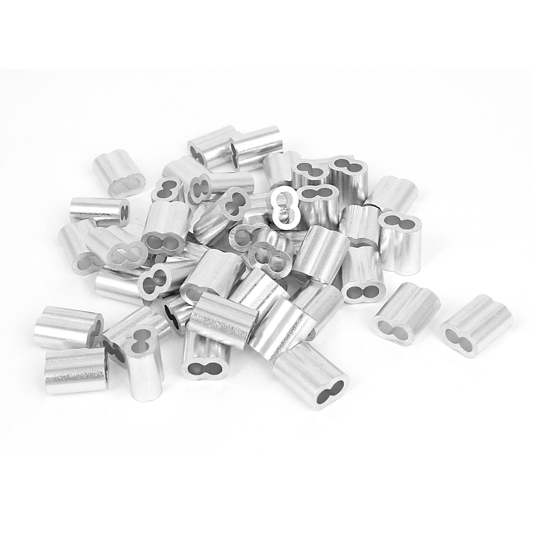 Uxcell a15060500ux0010 5/32-inch Wire Rope Aluminum Sleeves Clip Fittings Cable Crimps 50pcs (Pack of 50)