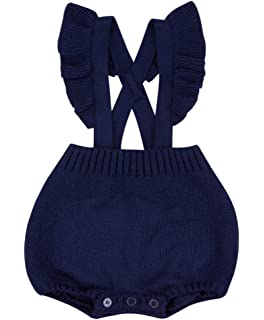 6a8b7665341 Chulianyouhuo Baby Girls Knitted Ruffle Cute Romper Cross Bandage Jumpsuit  Bodysuit