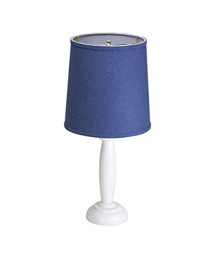 16 Round Wooden Table Lamp White Base By Laura Ashley With Drum