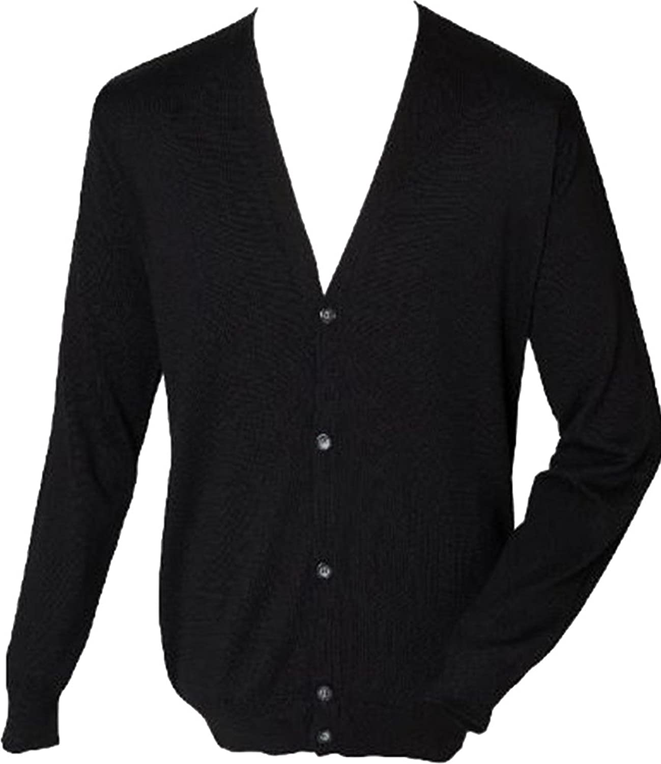 New Henbury Mens Outwear Long Sleeves V-Neck Button Fastening Cardigan Sweater
