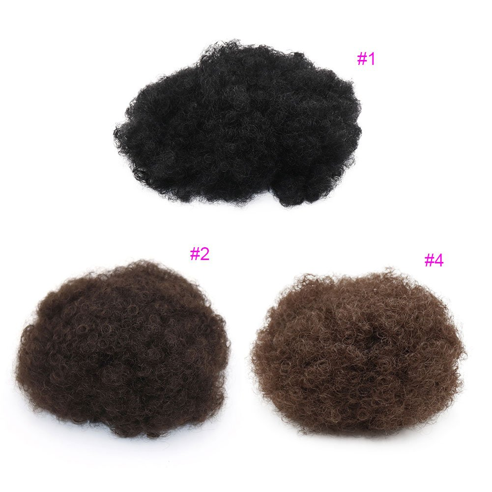 VGTE Beauty Synthetic Curly Hair Ponytail African American Short Afro Kinky Curly Wrap Synthetic Drawstring Puff Ponytail Hair Extensions Wig with Clips(#1,Medium) by VGTE Beauty