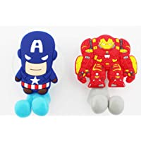 FinexSet of 2 MARVEL AVENGERS Captain America & Ironman Toothbrush Holders with Suction Cup for wall in bathroom at home