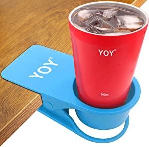 YOY Drinking Home Office Table Desk Side Huge Clip Water Drink Beverage Soda Coffee Mug Holder Cup Saucer Design, Blue