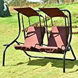 Hammock Canopy Outdoor Patio 2 Person Swing Chair Porch Padded Loveseat Coffee-Cretamarket
