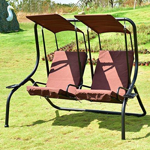 Hammock Canopy Outdoor Patio 2 Person Swing Chair Porch Padded Loveseat Coffee-Cretamarket by Cretamarket
