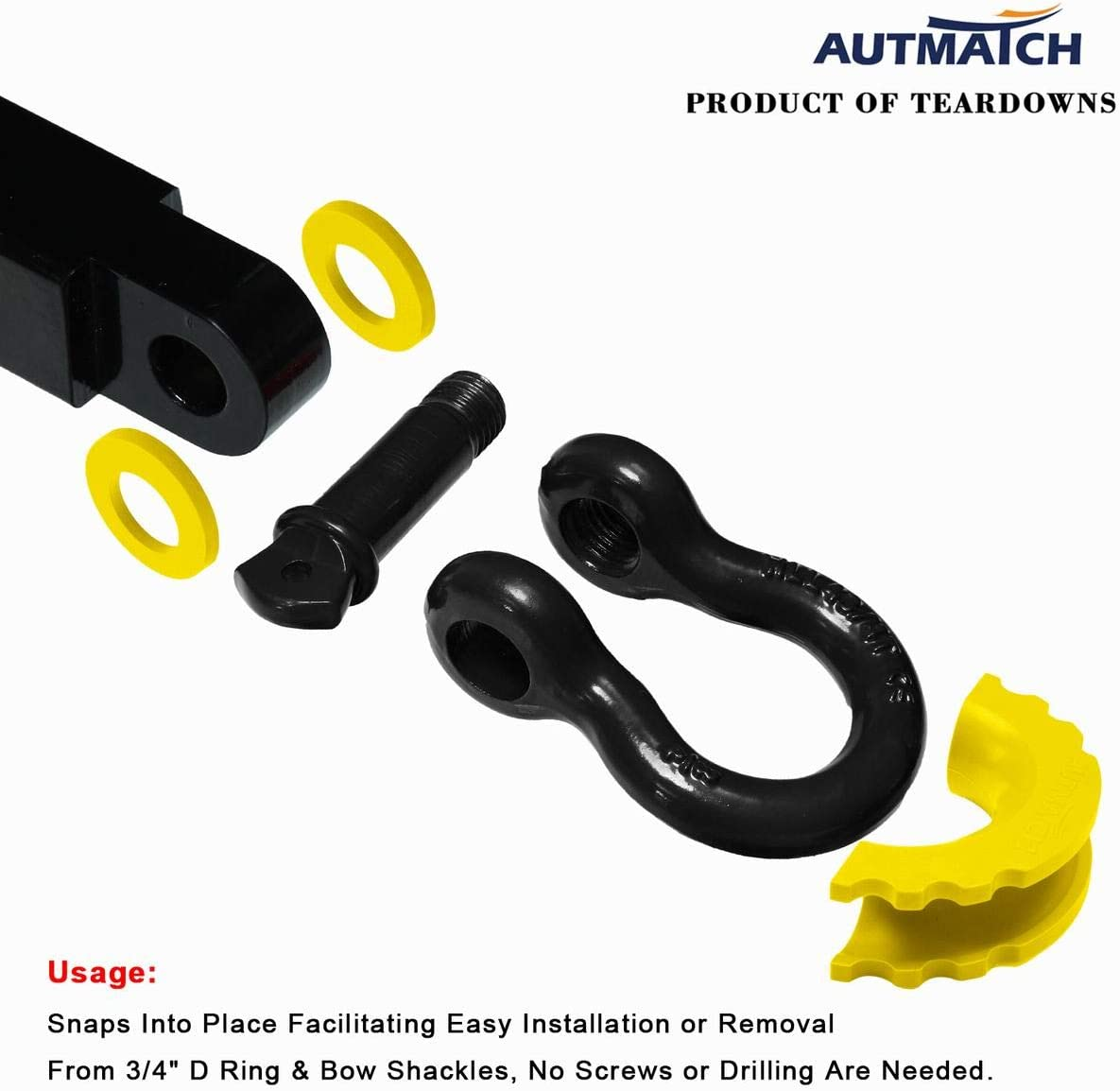 AUTMATCH Pack of 2 D-Ring Shackle Isolators Washers Kit 2 Rubber Shackle Isolators and 4 Washers Fits 3//4 Inch Shackle Gear Design Rattling Protection Shackle Cover Yellow