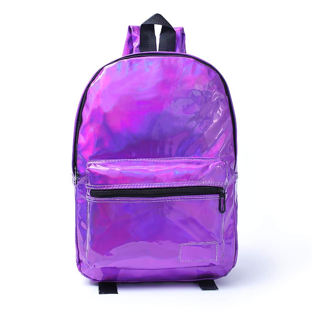 J. Carp ガールズ ホログラフィックレザーバックパック 多目的 スクールバッグ ハイドレーションバックパック 5034 B07GDH5QH3 Violet Full