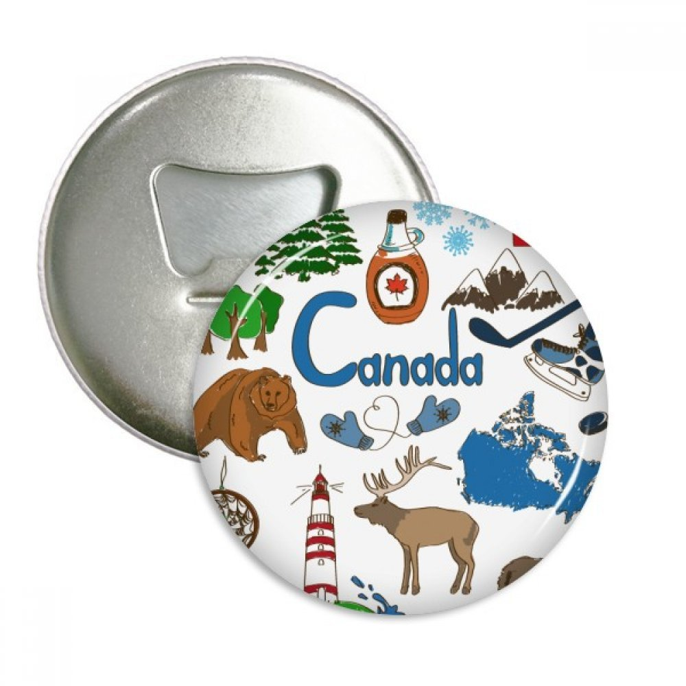 Canada Landscap Animals National Flag Round Bottle Opener Refrigerator Magnet Pins Badge Button Gift 3pcs
