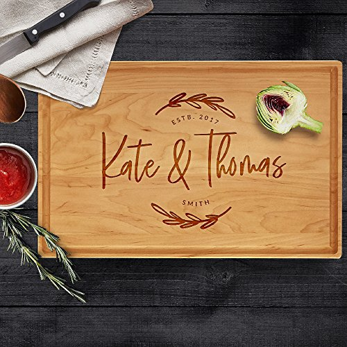 "P Lab Personalized Cutting Board, Custom Engraved Cutting Board with Juice Drip Groove, Christmas Gift, Wedding Gift, Anniversary Gift, Housewarming Gift (11"" x 17"" x 1"") Cherry Large Rectangular #G"