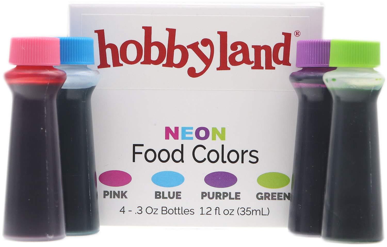 Hobbyland Neon Food Coloring Liquid Set (Green, Blue, Pink, Purple.3 fl oz Bottles)