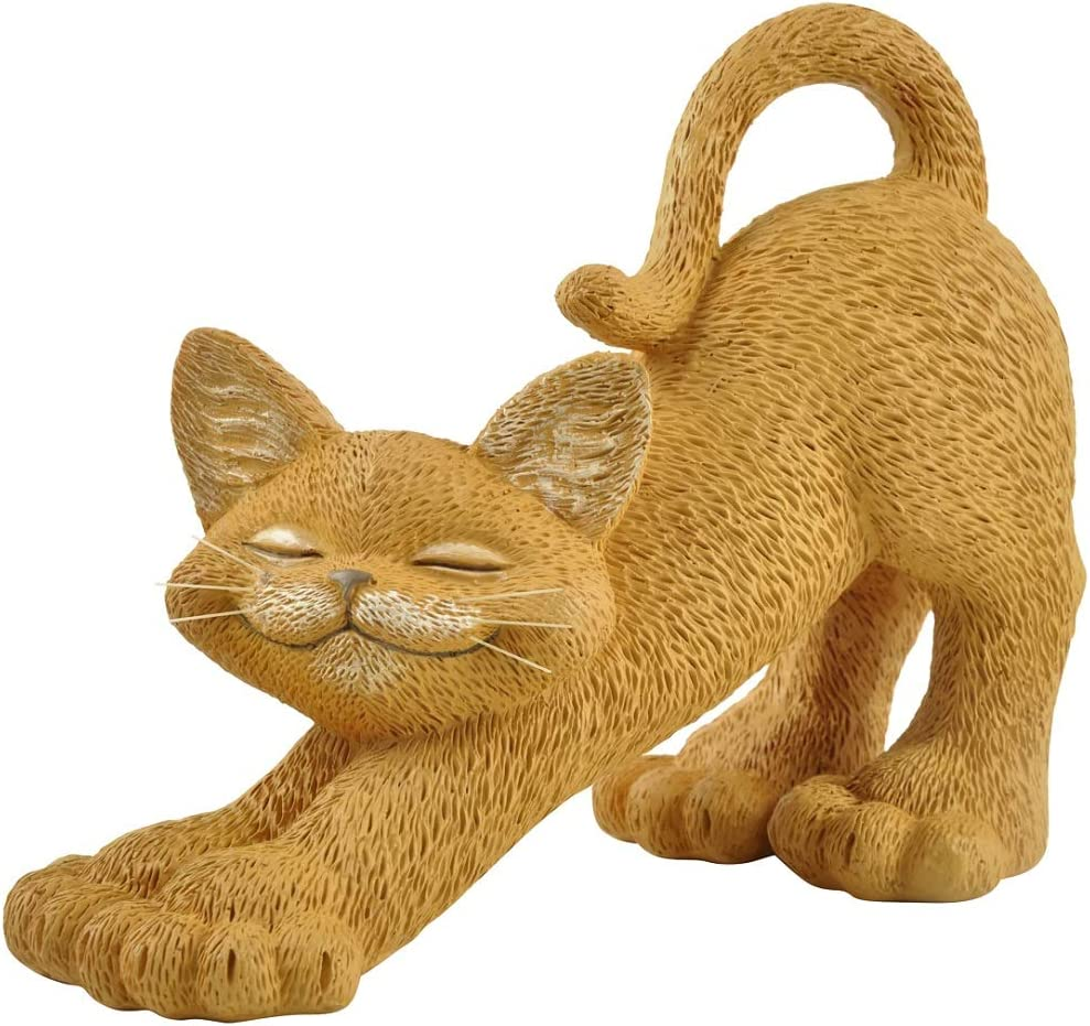 Whimsical Orange Cat Stretching Figurine Cute Collectible - Happy Cat Collection - Cat Lover Gifts for Women, Cat Lover Gifts for Men, Cute Cat Gifts, Cat Office Desk Accessories, Cat Desk Decoration