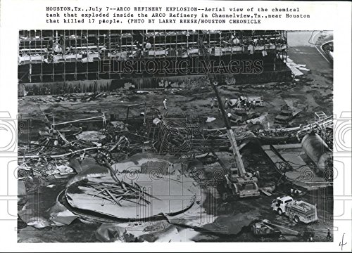 1990 Press Photo Aerial View Arco Chemical Corp. Explosion Channelview, Texas