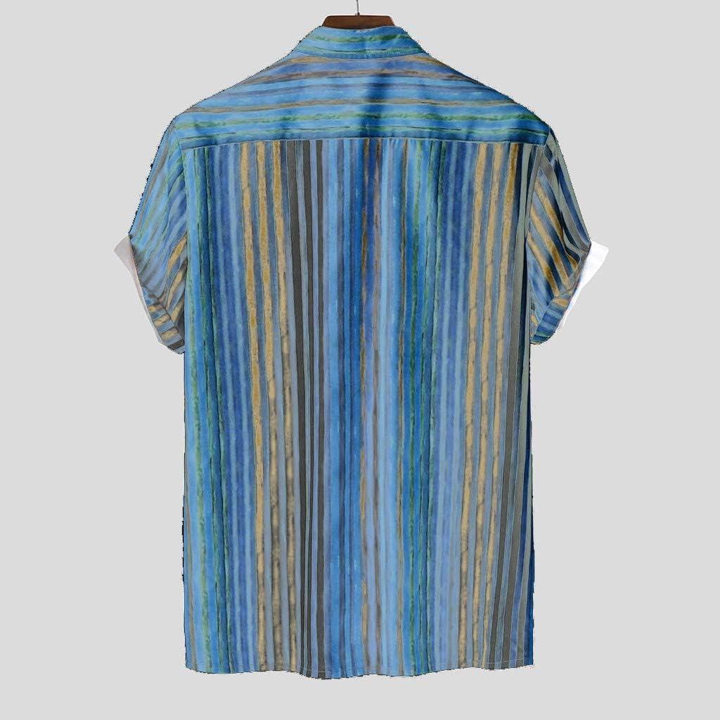 Haalife◕‿Mens Short Sleeve Shirts Linen Cotton Button Down Stripe Printed Tees Spread Collar Plain Summer Shirts
