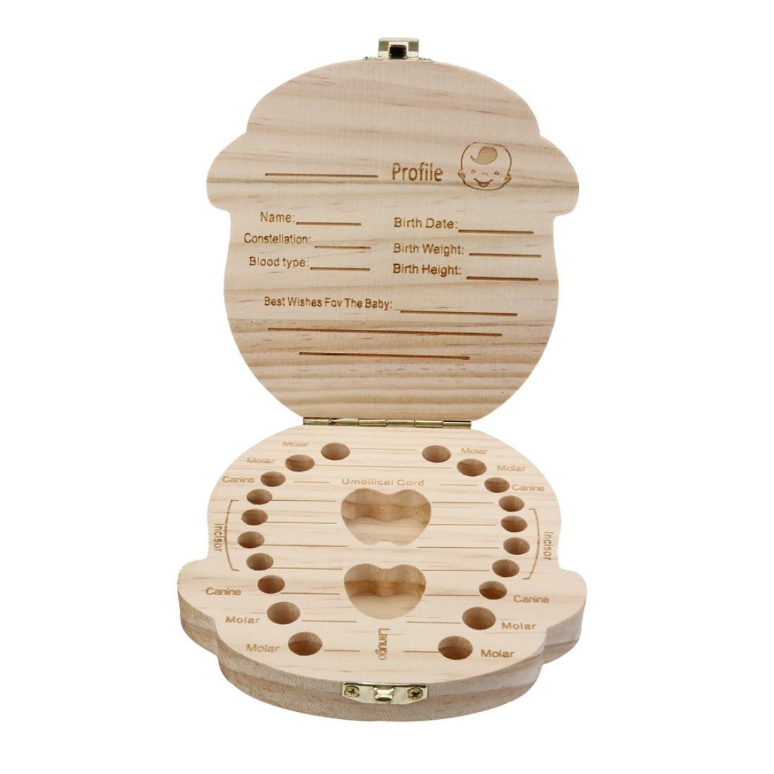 Renttos Baby Wooden Teeth Save Box Milk Teeth Wood Case Storage Kids Keepsake Organizer for Kids Boy